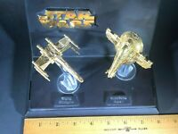 Star Wars 24k Gold Plated X-wing and  Slave 1 Micro-machines Galoob