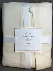 """Pottery Barn Foundations Pleated Button BED SKIRT Cream  QUEEN 14"""" Drop"""