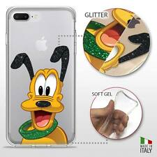 IPHONE 7 PLUS TPU COVER PROTETTIVA GEL TRASPARENTE GLITTER DISNEY PLUTO