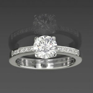 FLAWLESS VS1 D SOLITAIRE ACCENTED DIAMOND RING 4 PRONG 0.99 CT 14 KT WHITE GOLD
