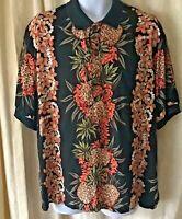 Vintage  Hilo Hattie Men's Aloha Hawaiian Shirt Hawaiian Made Pineapples Size L