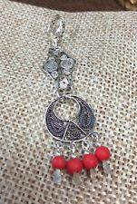 Vintage Sterling Silver Coral Beads Gemstones Filigree Pendant Fine Jewelry