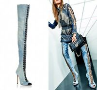 Sexy Women's Denim Thigh High Boots Open Toe Lace Up Nightclub Shoes High heels