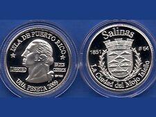 Silver PESETA SALINAS 2009 Puerto Rico Boricua Quarter 1/100 Plata