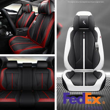 5-Seats Car Seat Cover 6D Surround Breathable Microfiber Leather Ship From USA