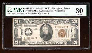 DBR 1934 $20 FRN Hawaii LA Block Mule Fr. 2304m PMG 30 Serial L77804107A