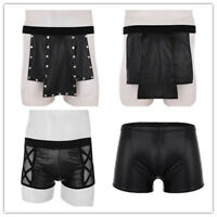 Men's Faux Leather Boxer Briefs Shorts Underwear Panties Lingerie Studded Kilt