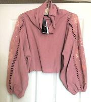 KAS New York Monica Beaded Sleeve Pullover Crop Top, Pink, Medium MSRP $176.00