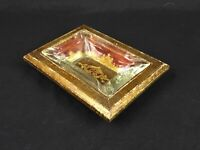 Vintage Italian Mid Century Gold Painted Wood and Glass Ashtray Made in Italy