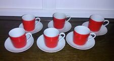 Vintage Red & White Cappuccino/Demitasse Cups & Saucers Made in Japan! UNUSED!