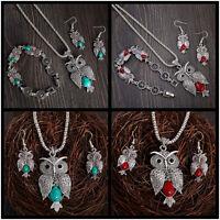 Vintage Woman Jewelry Set Turquoise Owl Hook Earrings Pendant Necklace Bracelet