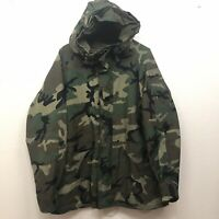 US Military Woodland Camo Gore-tex Cold Weather Parka Jacket Size Large