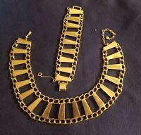 Vintage Barclay Mod Gold Tone Link Necklace Bracelet Collar Choker Retro Set EVC