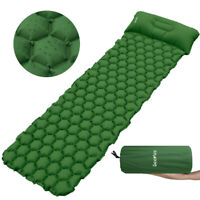 Single Inflatable Sleeping Mat Camping Air Pad Roll Bed Mattress With Pillow US
