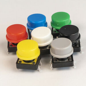 Push Switch Tactile Momentary 12mm 7 Colours Round Breadboard Arduino PCB UK