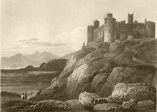 WALES. Harlech Castle, Cardiganshire. DUGDALE 1845 old antique print picture