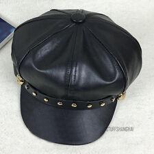 Ladies Faux Leather Motorcycle Biker Cap Cabbie Flat Gatsby Beret Hat Gold Studs