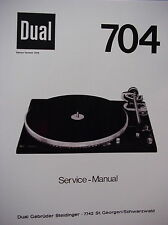 DUAL 704 TURNTABLE SERVICE MANUAL 22 Pages
