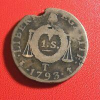#1585 - RARE - Louis XVI 1 Sol aux balances 1793 T Nantes - FACTURE