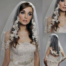 Two Layer White Ivory Lace High Quality Applique Wedding Veil Elbow Bridal