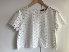 Jack Wills ladies white cotton blend cropped short sleeve top size uk 14 ☀️
