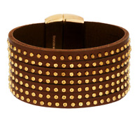BRONZO ITALIA YELLOW BRONZE STUDDED 7-STRAND LEATHER LARGE BRACELET QVC