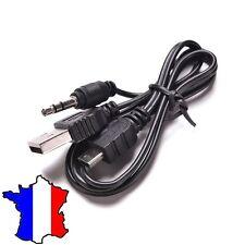 cable adaptateur audio USB et Jack mâle 3.5mm / Mini USB mp3 mp4 enceinte
