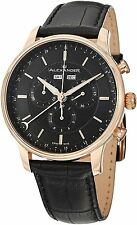 Alexander Wrist Men Black Leather Analog Swiss Chronograph Stainless Steel Watch