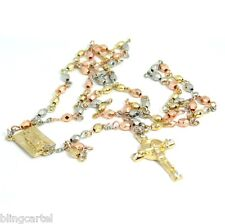 "Jesus Cross Mary Tri Tone Beads Square Virgen De Guadalupe 24"" In Rosario Rosary"