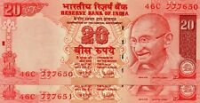 INDIA 20 Rupees 2007 P96b Letter R x 2 Consecutive UNC Banknotes '777' serial #