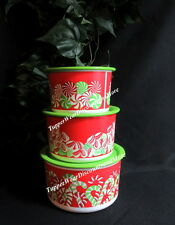 Tupperware NEW Stacking Toppers Canisters Set Christmas Candy Cane Design