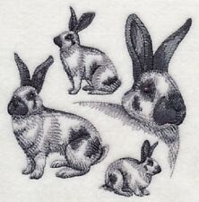 "9  x 12"" Embroidered Quilt Block - Pre Order - Checkered Giant Rabbit Sketch"