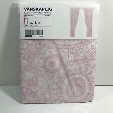 IKEA VANSKAPLIG Pink Kaleidoscope Sheer White Drapery Panels & Ties New