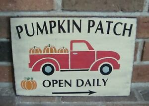 "PRIMITIVE STYLE FALL HALLOWEEEN ""RED TRUCK"" SIGN HANDPAINTED ANTIQUE WHITE"