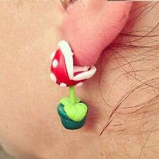 1pair piranha plant earrings,3D piranha flower ear ring,biting ear look ear stud