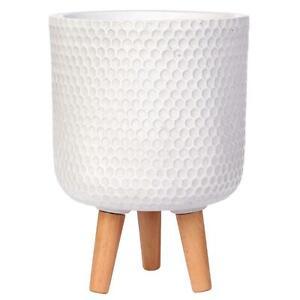 IDEALIST Honeycomb Style Cylinder Round Indoor Planter with Legs