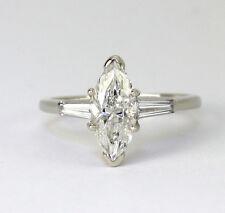 Diamond engagement ring 14K white gold 1.11C marquise brilliant baguette 1.25CTW