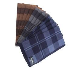 12/pack Soft Men's Plaid Pocket Handkerchief 100% Cotton Hanky 40x40cm