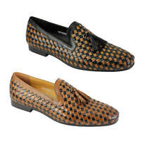 Mens Black Brown 2 Tone Woven Real Leather MOD Tassel Loafer Slip on Shoes