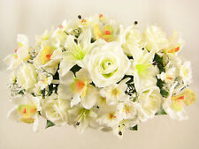 Artificial Flowers Cream Rose Lily Aquilegia Orchid Large Wedding Centrepiece