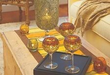 """PARTYLITE complete 6"""" 7"""" 8"""" trio SIENA LIGHTS stemmed MOSAIC GLASS candle *NIB*"""