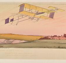 Gamy Monteau Original Plaket 1910 Farman Aeroplane Flugzeug Biplane 45 x 90cm