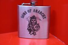 6oz Stainless Steel Hip Flask Sons Of Anarchy Logo