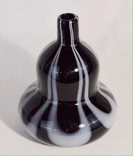 Black Art Glass Vase With White Design
