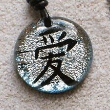 Love Chinese Signs Character Symbol Dichroic Glass Silver Pendant