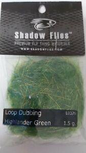 """SHADOW FLIES 1.5g  """"  LOOP DUBBING  """"  Color: Highlander Green"""