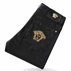 Men's Black Versace Slim Embroidered Denim Trousers Jeans Pants