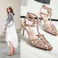 Womens Ladies Ankle Strap Studded Sandals Ladies Pointy Toe Rivet Med Heel Shoes