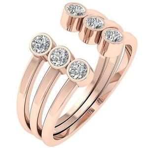 Engagement Ring SI1 G 1.00 Ct Natural Diamond 14K Rose Gold 11.35 MM Bezel Set