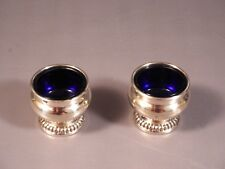 Sterling Silver Cobalt Blue Glass Salt Cellars SET by Birks UNUSUAL